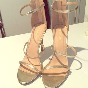 Venus High Heel Strappy Sandal -Gold